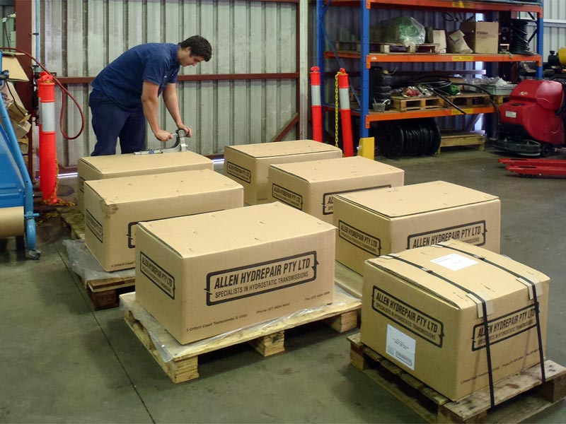 Hydrostatic Services's Alex packing hydrostatics units for transport